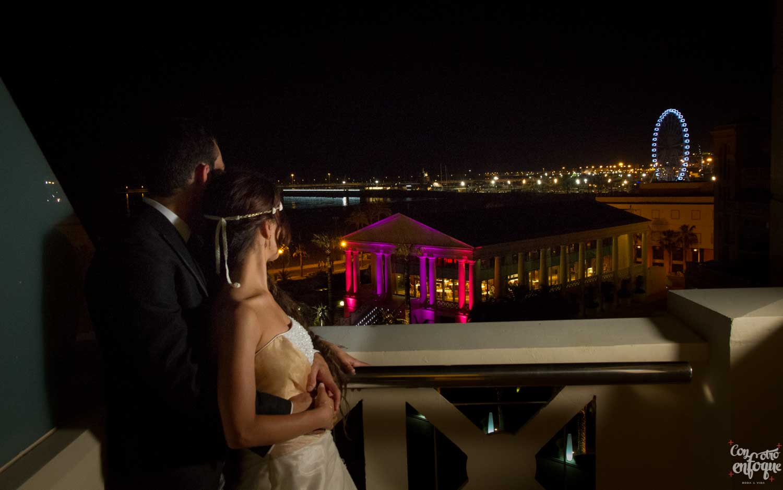 boda en las arenas. vista desde el hotel las arenas. suite nupcial. Fotógrafos de boda en Valencia