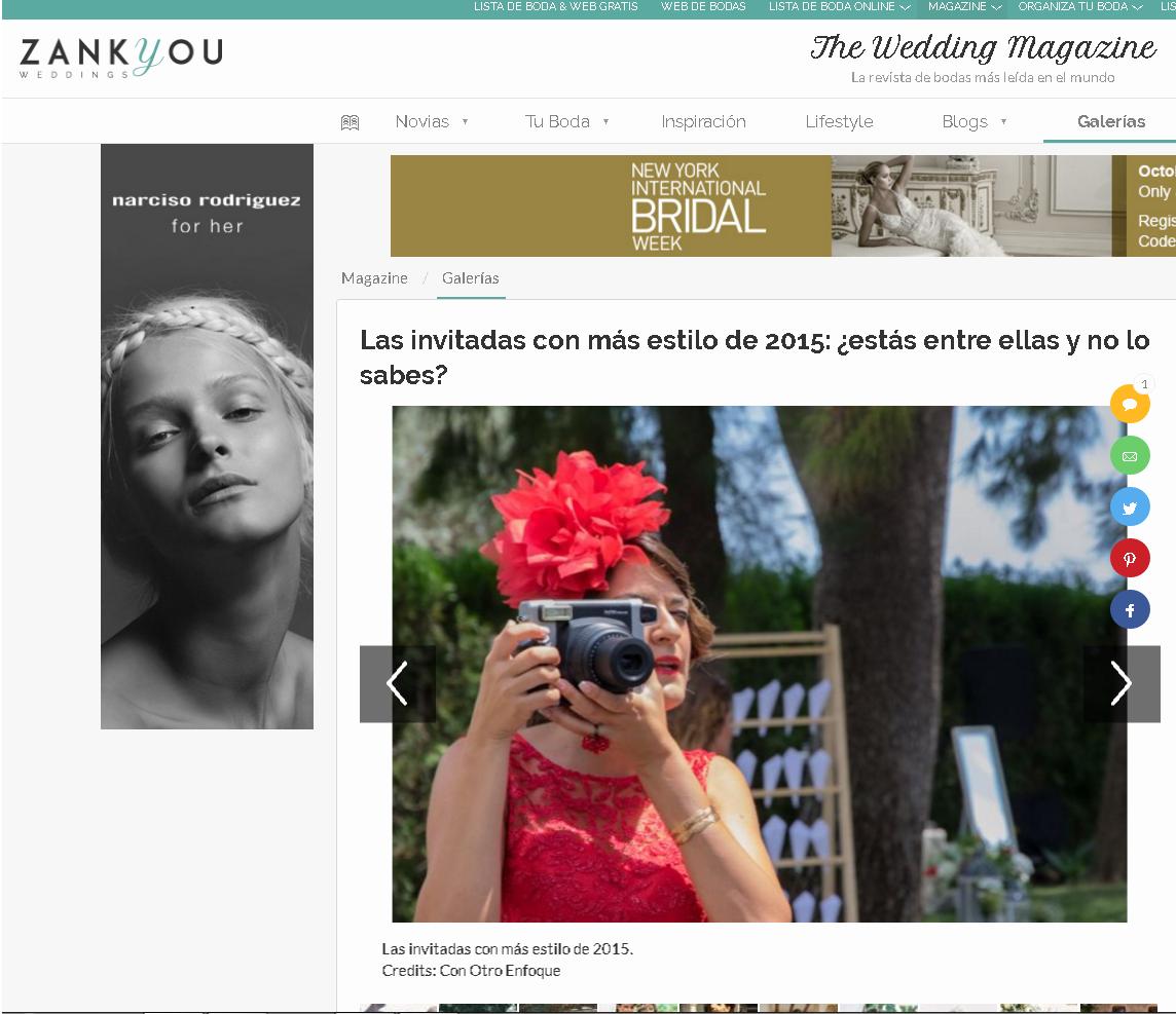 Fotógrafos de Boda recomendados por revista Zankyou Bodas